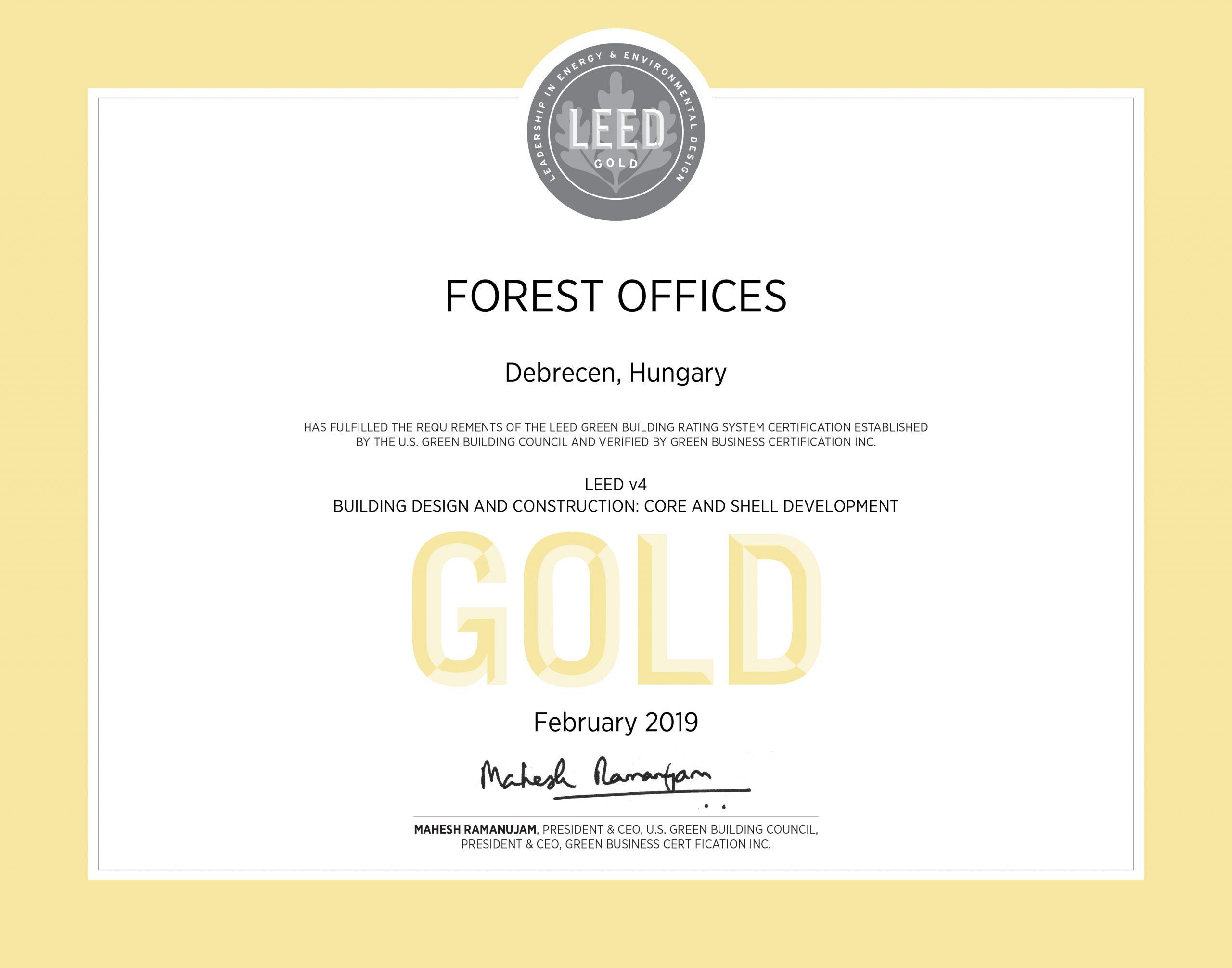 LEED Gold Certificate | Forest Offices irodaház