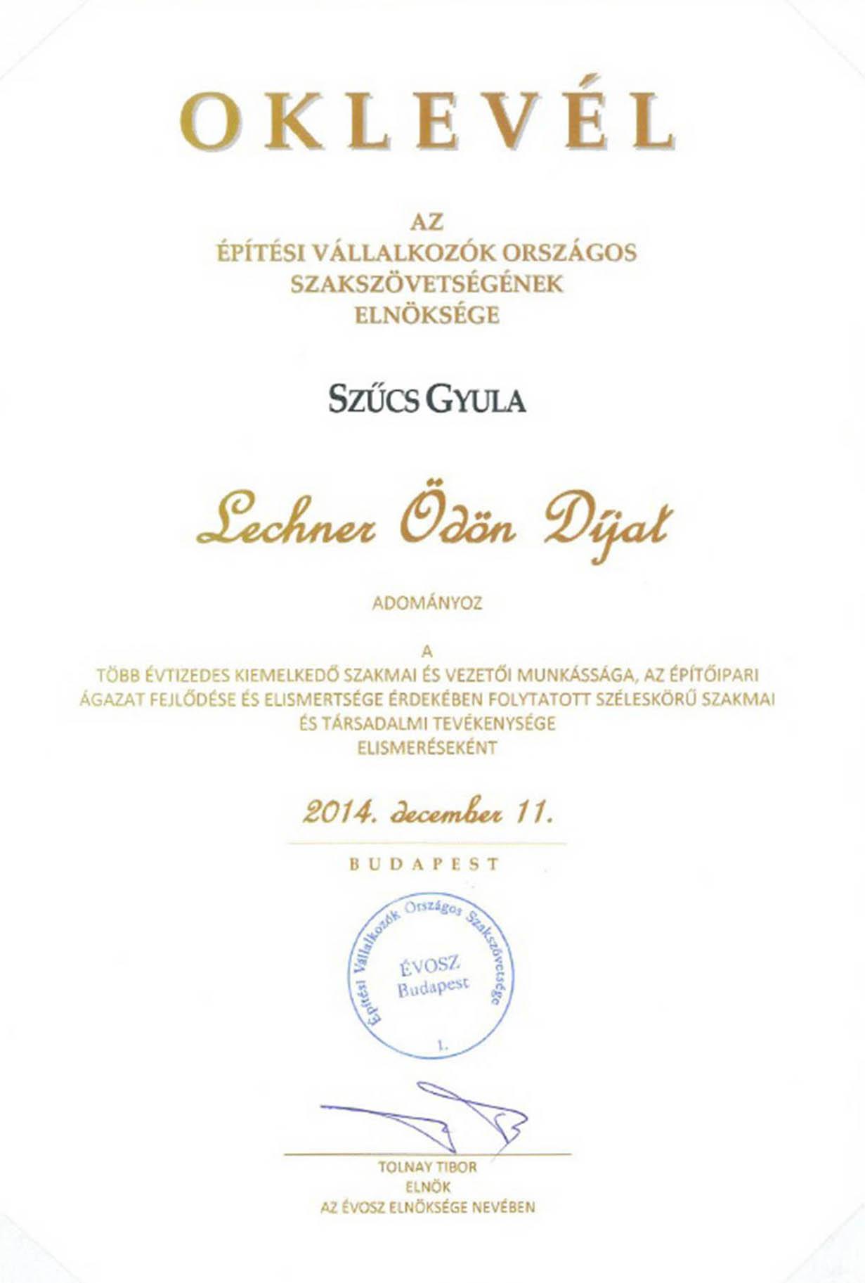 Szűcs Gyula – Lechener Ödön díj