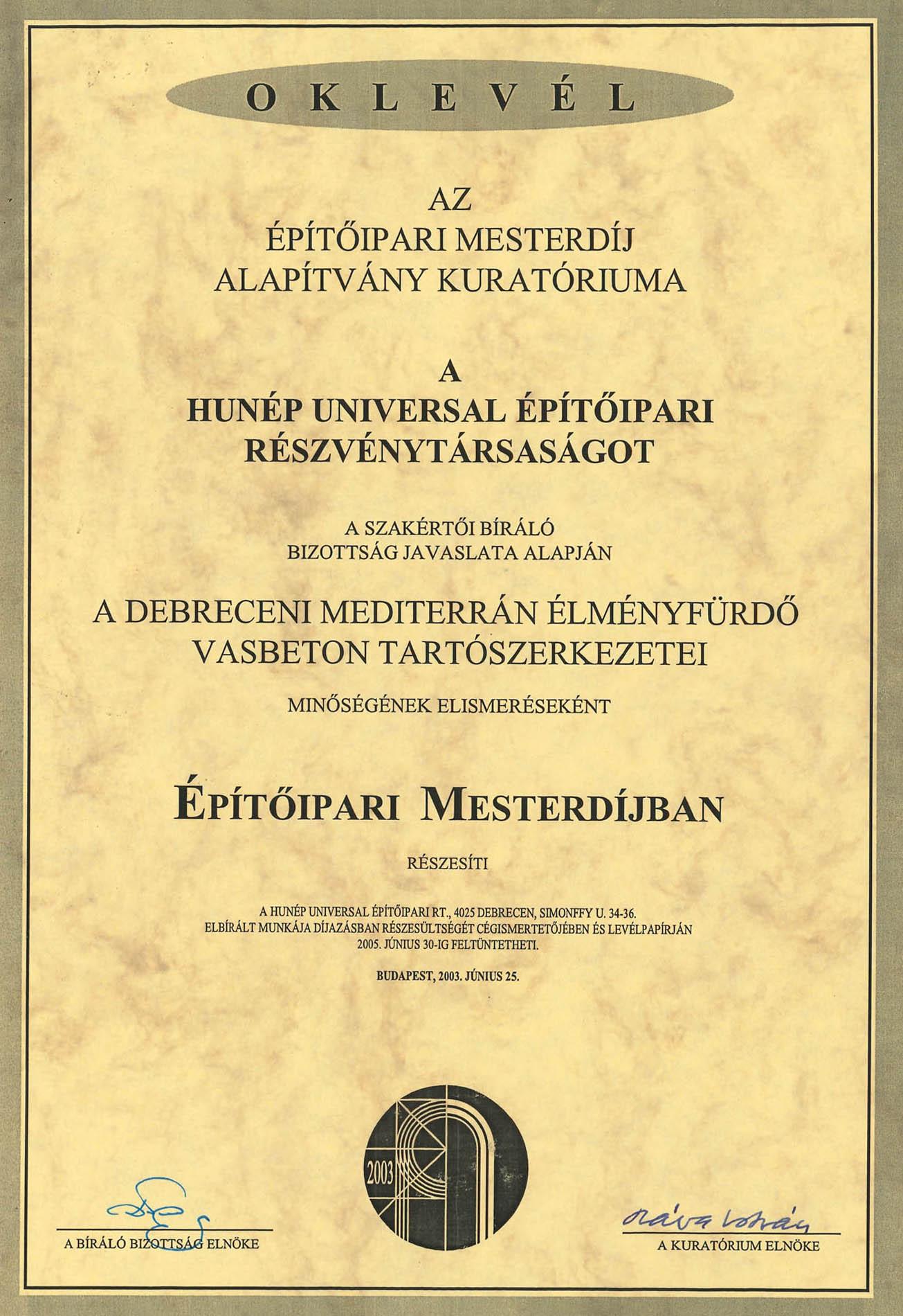 A Debreceni Mediterrán Élményfürdő vasbeton tartószerkezeteinek elismerése